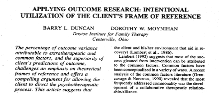 The top half of a page from Applying Outcome Research: Intentional Utilization of the Client's Frame of Reference