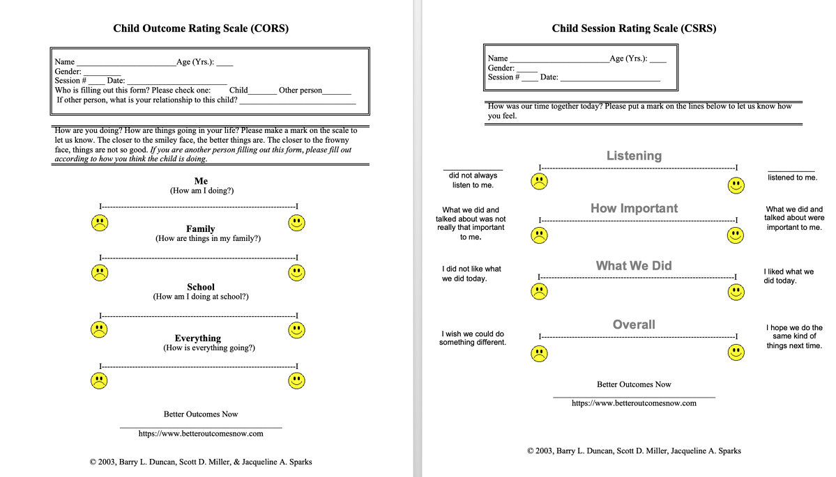 Child Outcome Rating Scale & Child Session Rating Scale